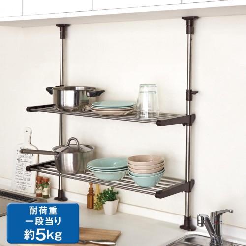 キッチンに傷つけない突っ張り式の棚を使って