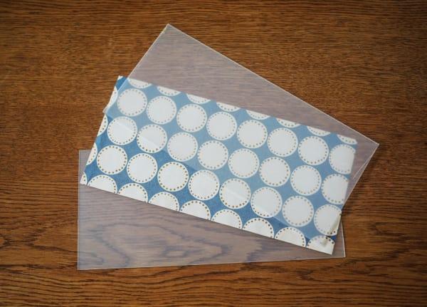 透け感のあるPP板+紙や布