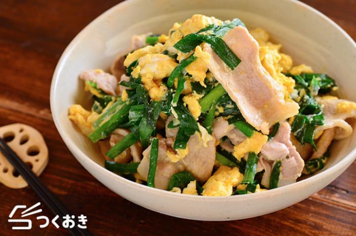 人気で美味しい料理に!豚肉とニラの卵炒め