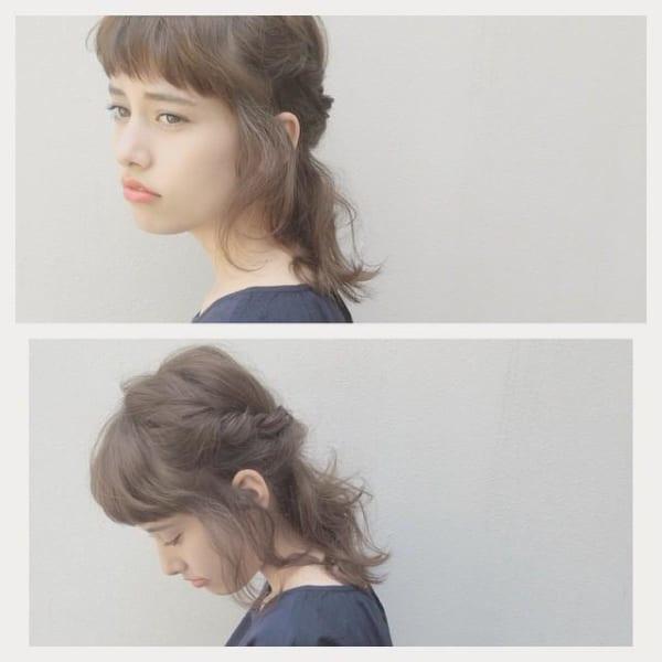 ワンレンミディアムのヘアアレンジ④ハーフアップ