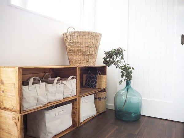 ノスタルジックなリンゴ箱の家事室