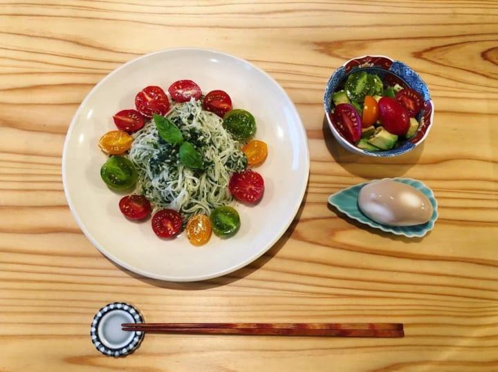 プチトマトのカラフルサラダ素麺
