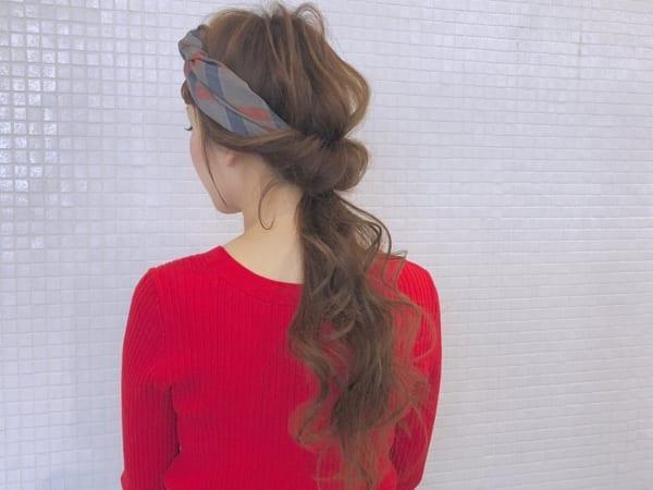 バンダナ×ポニーテールまとめ髪アレンジ