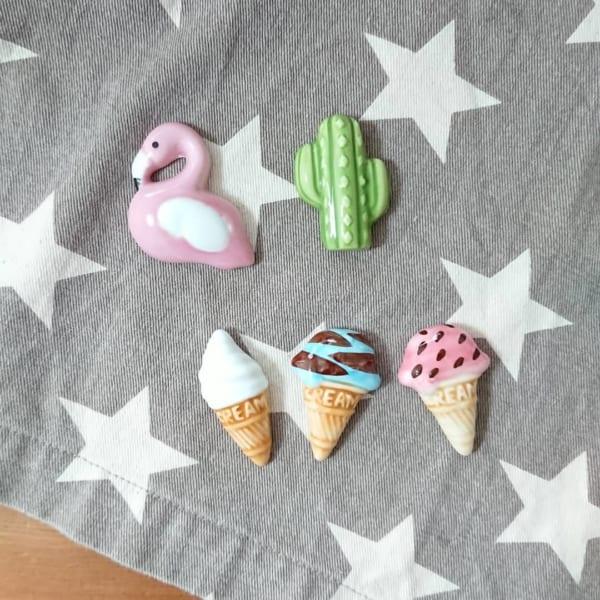 フラミンゴ&トロピカル&アイスクリームの箸置き【セリア】