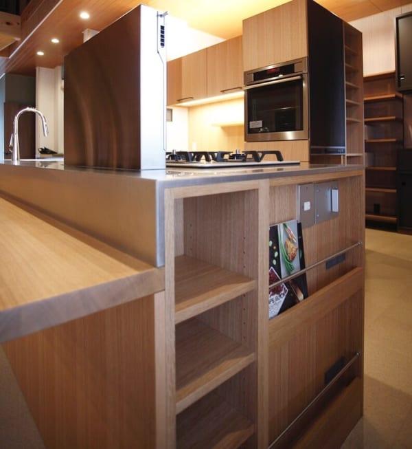 キッチン調理台のマガジンラック