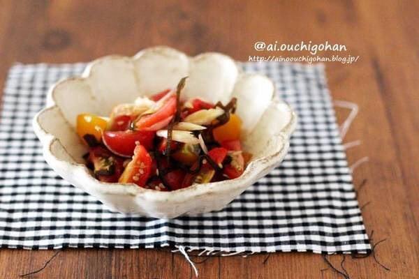 人気のミニトマトと茗荷の昆布和え
