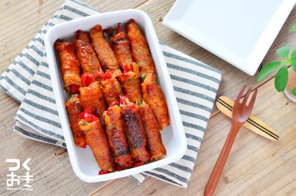 美味しいおかず!パプリカのピリ辛人気豚肉巻き弁当