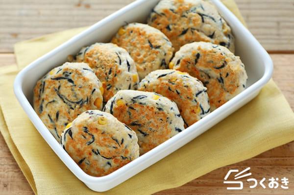 簡単料理!ひじき入り絹ごし豆腐ハンバーグ弁当