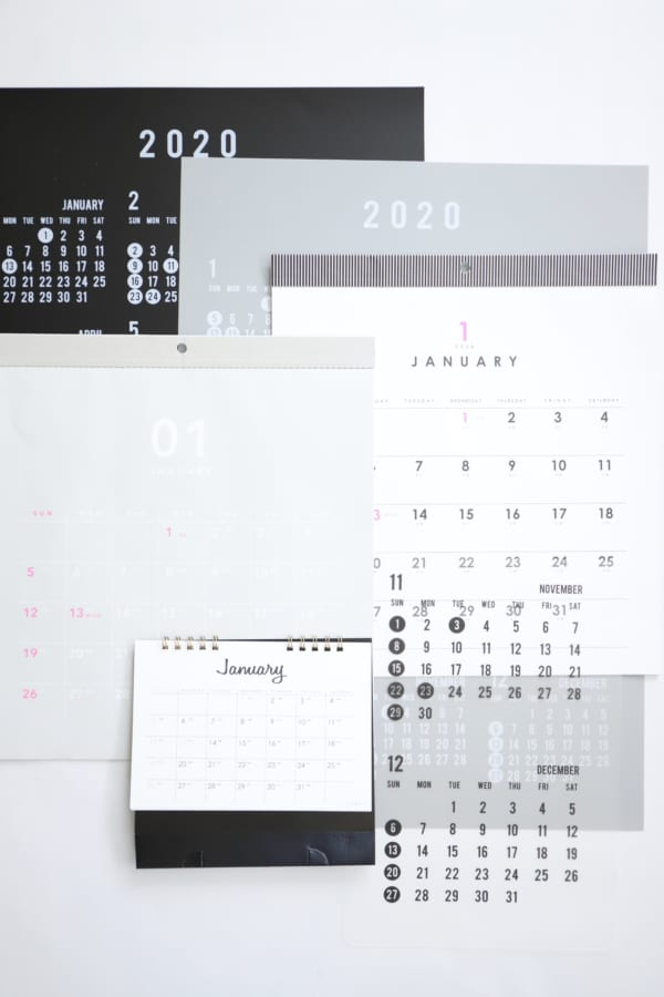 セリア モノトーン カレンダー 2020