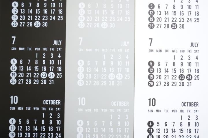 セリア モノトーン カレンダー 2020 3