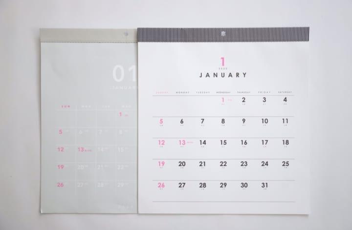 セリア モノトーン カレンダー 2020 6
