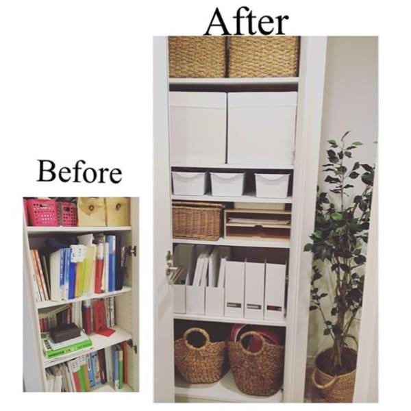 棚に蓋なし箱を並べて文庫本を収納