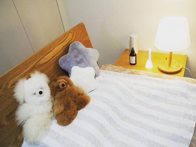 おしゃれなぬいぐるみの飾り方実例《ベッド周り》2