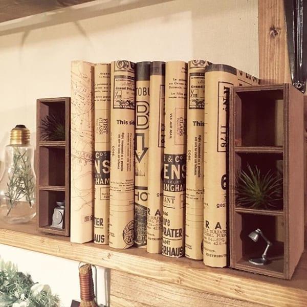 手作りブックシェルフで文庫本を収納
