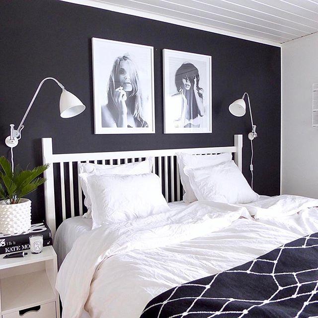 ブラック&ホワイトでおしゃれな海外の寝室