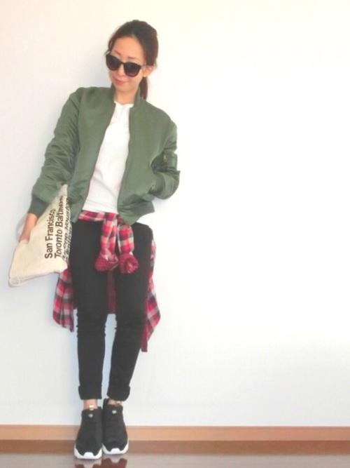 チェックシャツ×スキニーパンツの冬コーデ