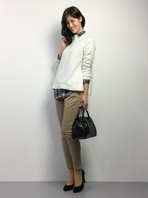 チェックシャツ×スキニーパンツの冬コーデ4