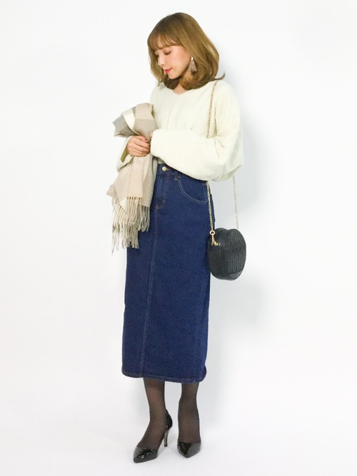 [ANDJ] バックスリットミモレ丈デニムスカート2