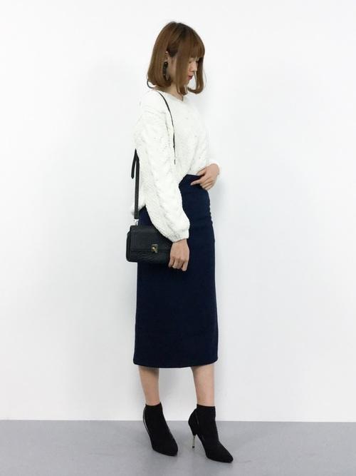 4[reca] 裏起毛で暖か&ベージックデザインでヘビロテ決定◇ウエストゴム裏起毛タイトロングスカート