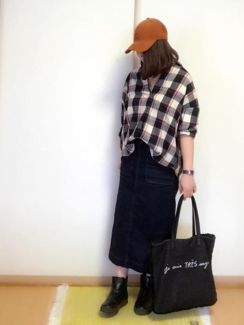 シャツ×スカートのぽっちゃりさん向け冬コーデ