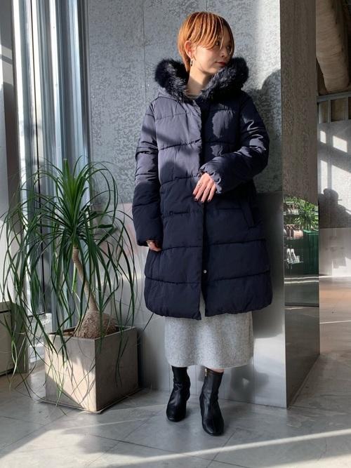 [koe] 中綿フードロングコート