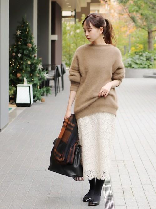 1[IENA] レースタイトスカート◆