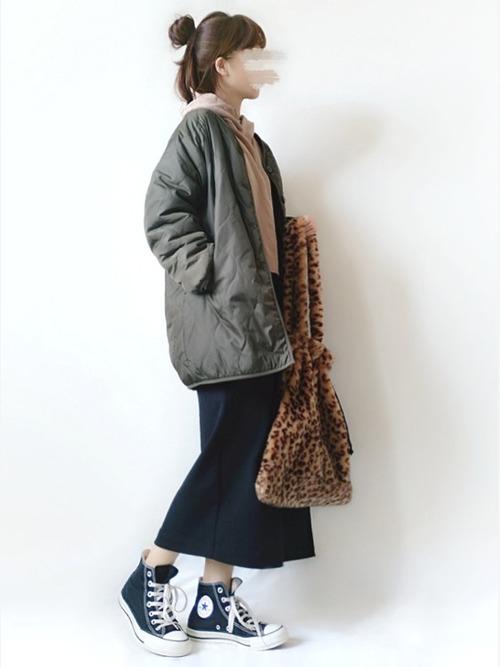 【GU】ルーズなキルティングコートコーデ