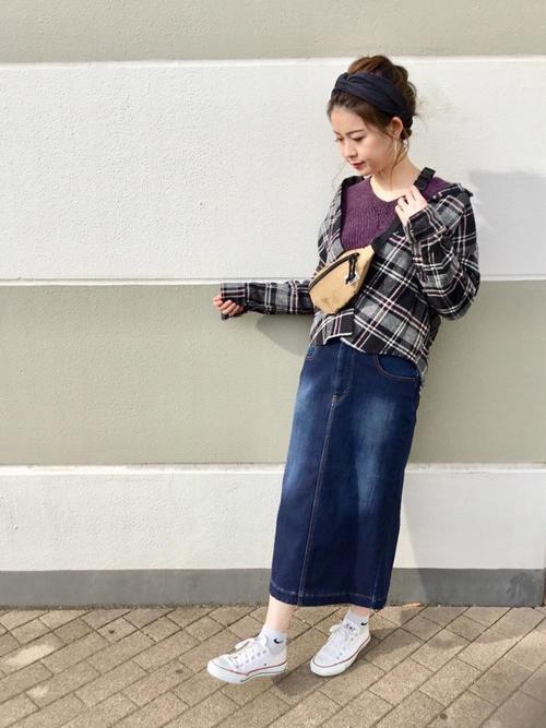 チェックシャツ×タイトスカートの冬コーデ3
