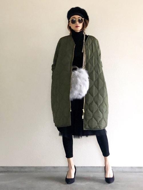 [STYLE BAR] 【STYLEBAR】ミリタリーノーカラーキルティングコクーンコート