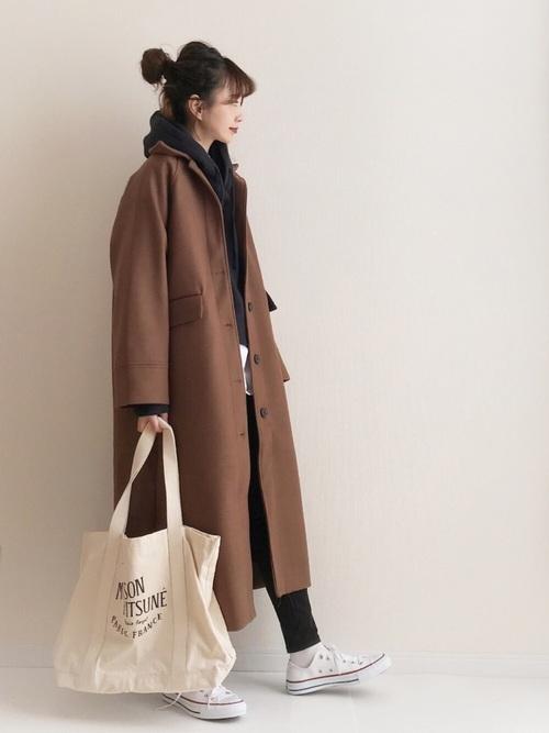 茶色コート×スキニーのぽっちゃりさん向け冬コーデ