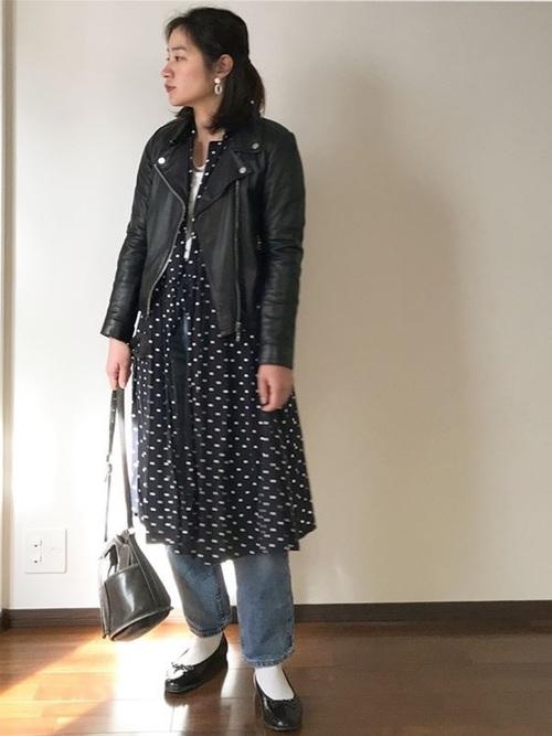 ライダースジャケットは12月の服装にも活躍