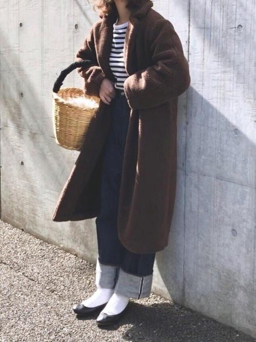 ファーコート コーデ3