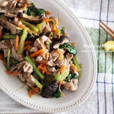 野菜としいたけたっぷり人気のオイスター生姜焼き