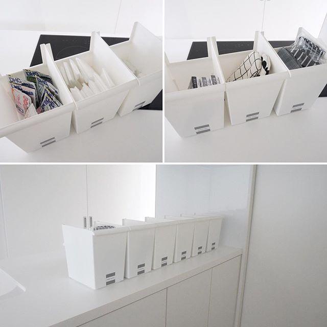 折り畳んだレジ袋を白かごに入れる方法