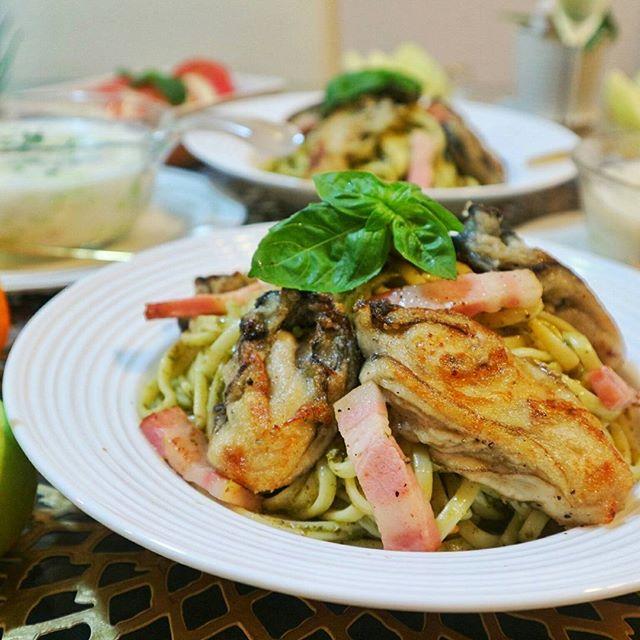 彼氏が大好物な料理に!牡蠣のジェノベーゼパスタ