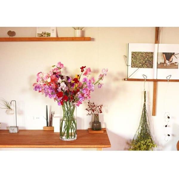 ピンクのお花で北向きの玄関から幸せを吹き込む