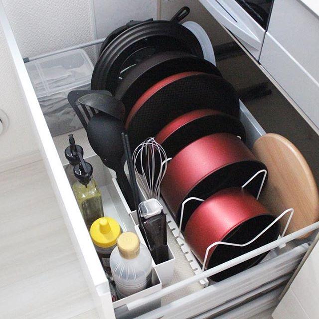 キッチンの引き出し収納《フライパン・鍋》2