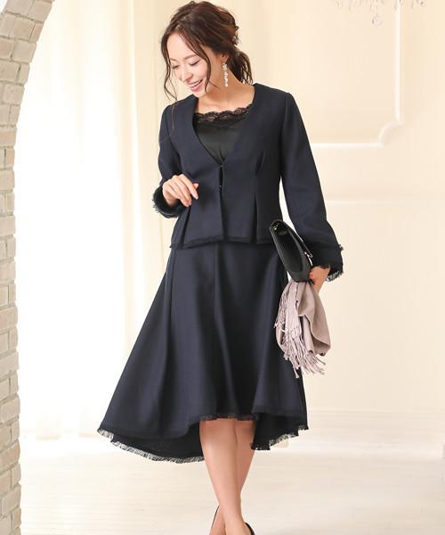 [GIRL] 【2点セット】【入園式・卒園式スーツ】ツイードジャケット&ヘムラインスカートの2点セットアップスーツ・フォーマルスーツ