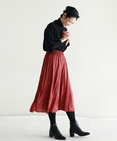 [NOMBRE IMPAIR] ポリエステルサテンワッシャー ギャザースカート