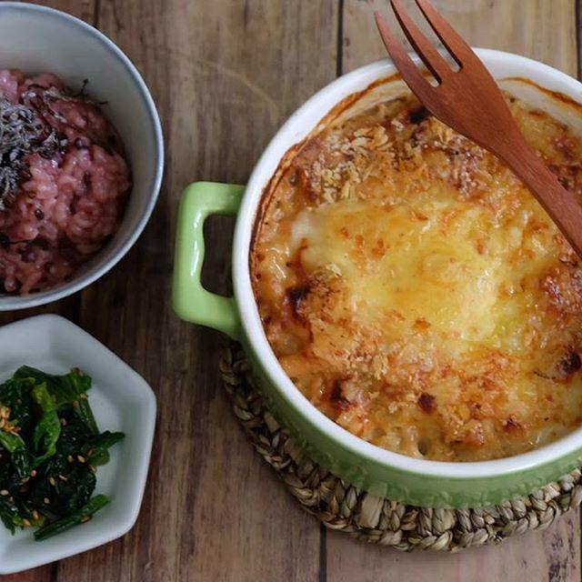 グルテンフリーで玄米粉のマカロニグラタン