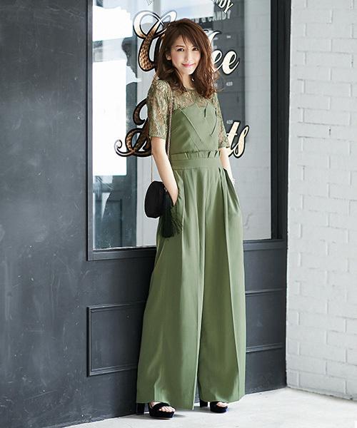 [GIRL] レースブラウス&ベアトップジャンプスーツのセットアップ結婚式パンツドレス・お呼ばれパーティードレス
