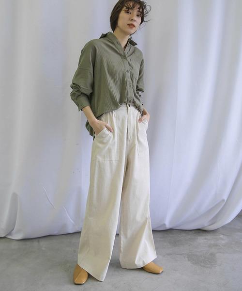 15[select MOCA] コットンルーズL/Sシャツ(ビッグシルエットガーゼシャツ)