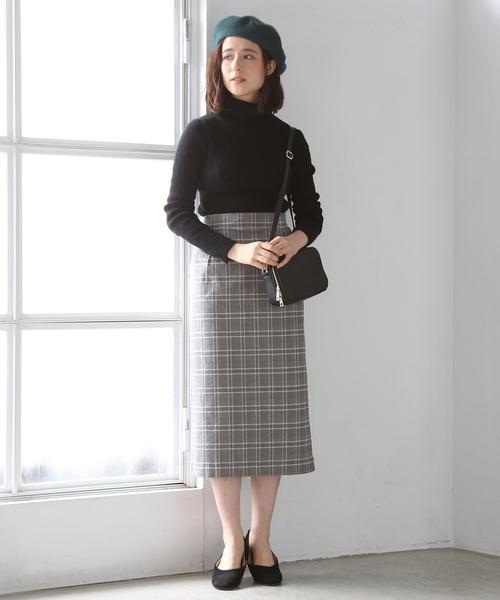 [coen] コットンチェックストレッチタイトロングスカート