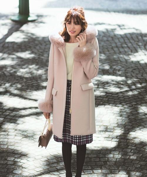 【レディース】ピンクコート×スカートの冬コーデ
