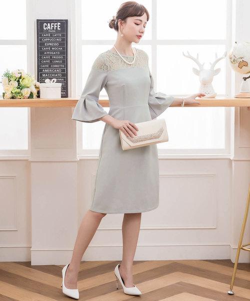 [DRESS STAR] レース切替え五分袖結婚式ワンピース・お呼ばれパーティードレス