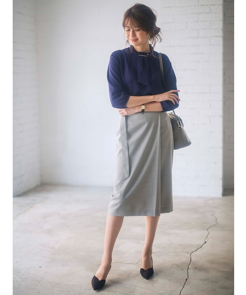 [UNTITLED] ウール混ツイルナロースカート