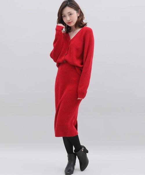 [CLEAR IMPRESSION] カシミヤ混ニットタイトスカート【ニットアップ対応】【MORE2月号掲載】