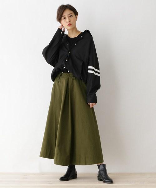 [OZOC] 【洗える】カツラギボタンポケットスカート