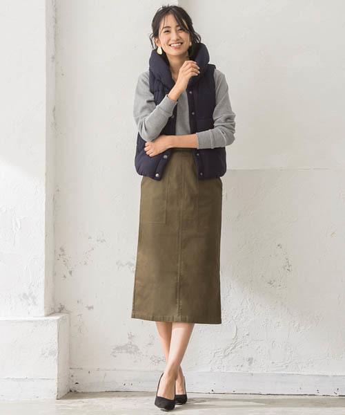 [Pierrot] 綿100% ポケットデザイン タイトスカート
