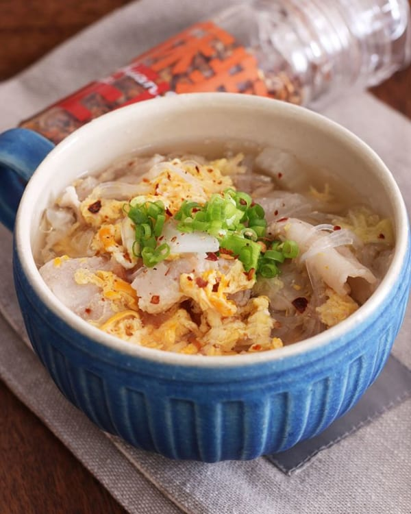 豚肉入りでスタミナ満点さっぱり春雨スープ